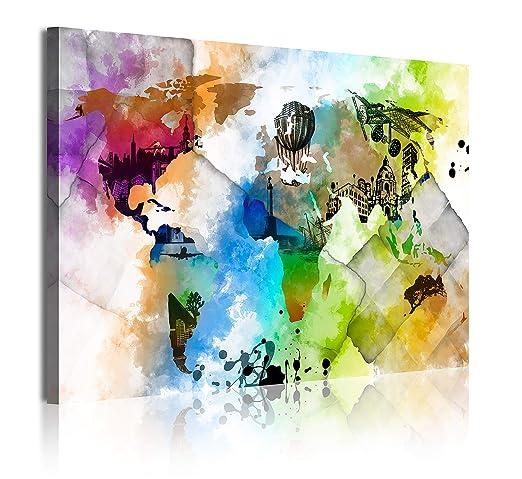 DEKOARTE 347 Cuadro Moderno en Lienzo Multicolor 1 pieza 120x80x3cm Estilo mapamundi Acuarelas
