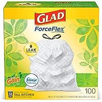 Deals on 3-Pack Glad ForceFlex Tall Kitchen Drawstring Trash Bags, 13 Gal, 100 Ct