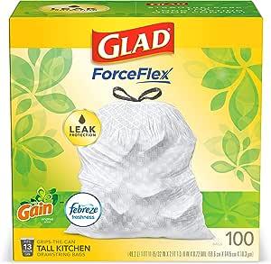 Glad OdorShield Tall Kitchen Drawstring Trash Bags, Gain Original with Febreze Freshness