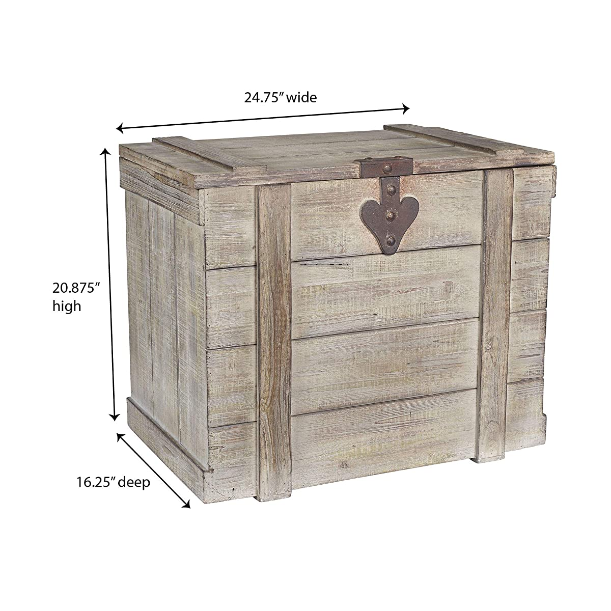 Household Essentials White Washed Rustic Decorative Wooden Trunk, Large