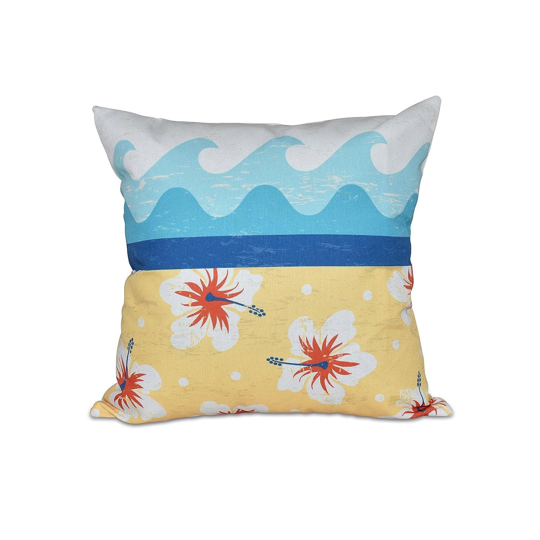 E by design Surf Sand /& Sea Floral Print Pillow