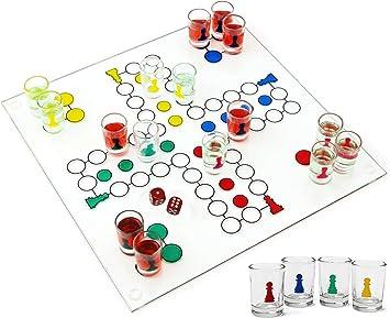 Mattys Toy Stop Ludo Juego de Beber (Parcheesi) con 16 Vasos de chupito, 2 Dados y Tablero de Juego de Vidrio: Amazon.es: Juguetes y juegos