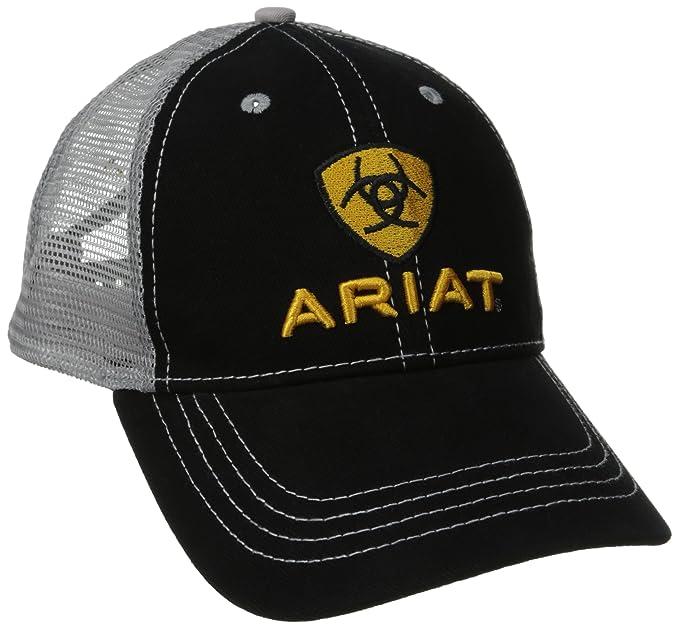 7d7ca136545fd1 Ariat Men's Front Gray Mesh Hat, Black, One Size at Amazon Men's ...