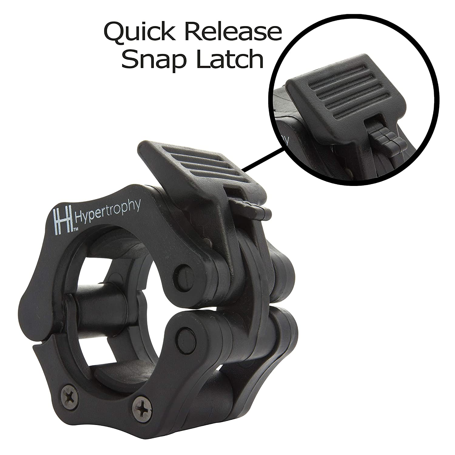Quick Release Barbell Clamps Weightlifting Collars for Olympic Barbell Stop Sliding Plates with Snap Latch Technology Hypertrophy UK