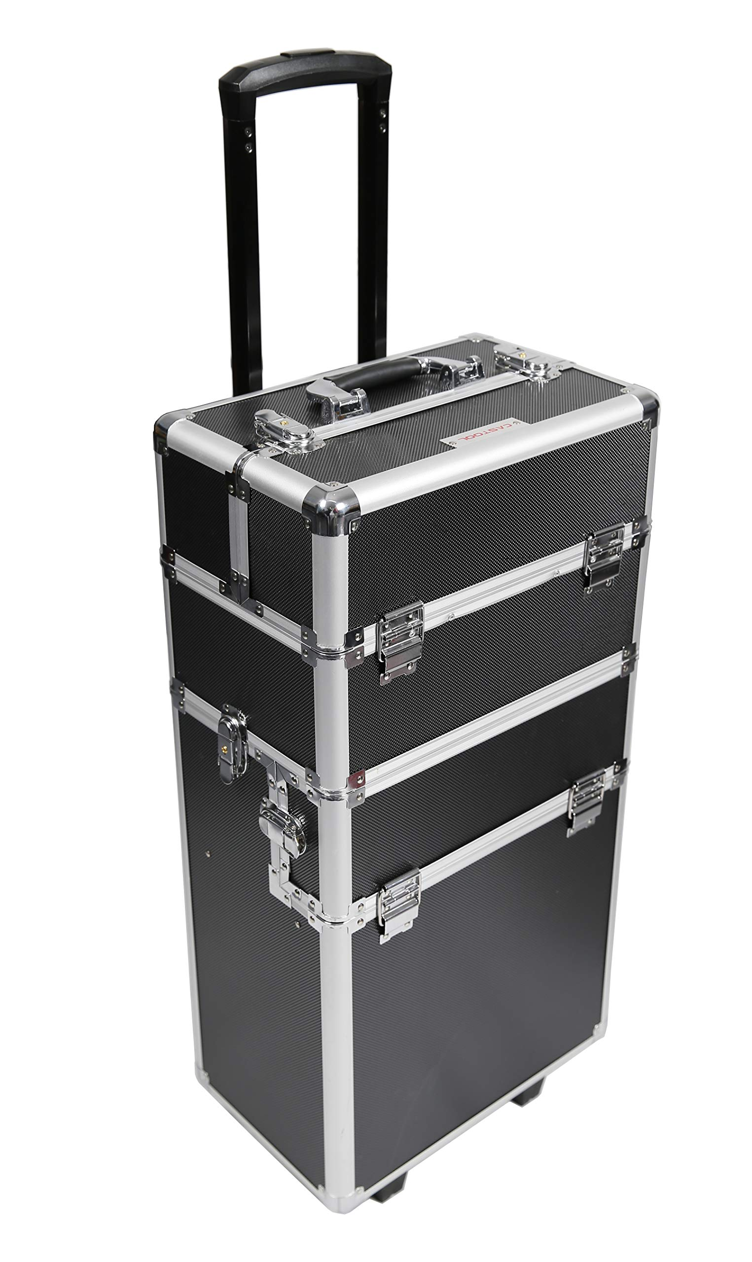 360-Degree Aluminum Rotating Castors Cosmetic Case Trolley Rolling Makeup Train Case Barber Salon Lockable Travel Case, with Sliding Drawers,Removable Dividers Black by CASTOOL