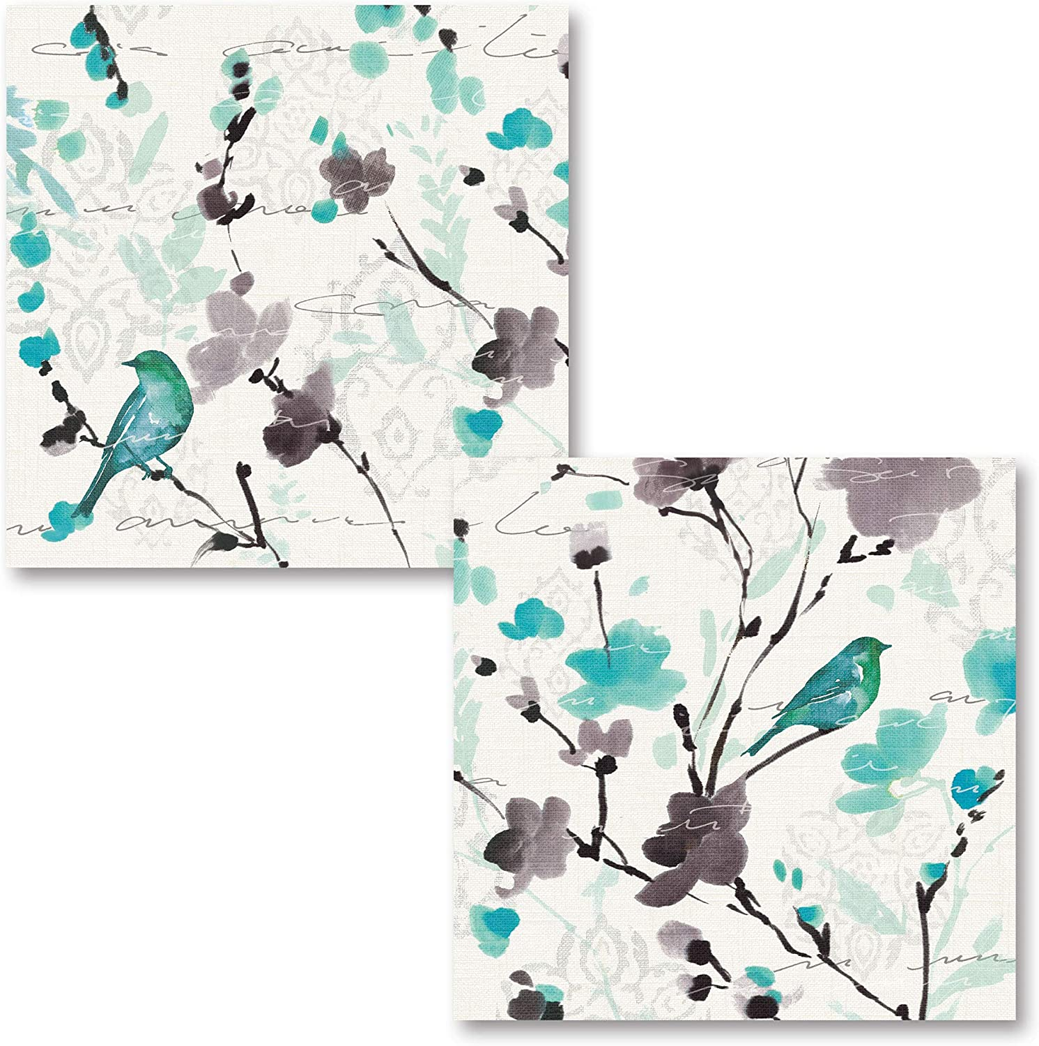 Gango Home Décor Beautiful Teal and Gray Watercolor-Style Floral and Bird Paper Poster Set by Pela; Two 12x12in Paper Poster Prints