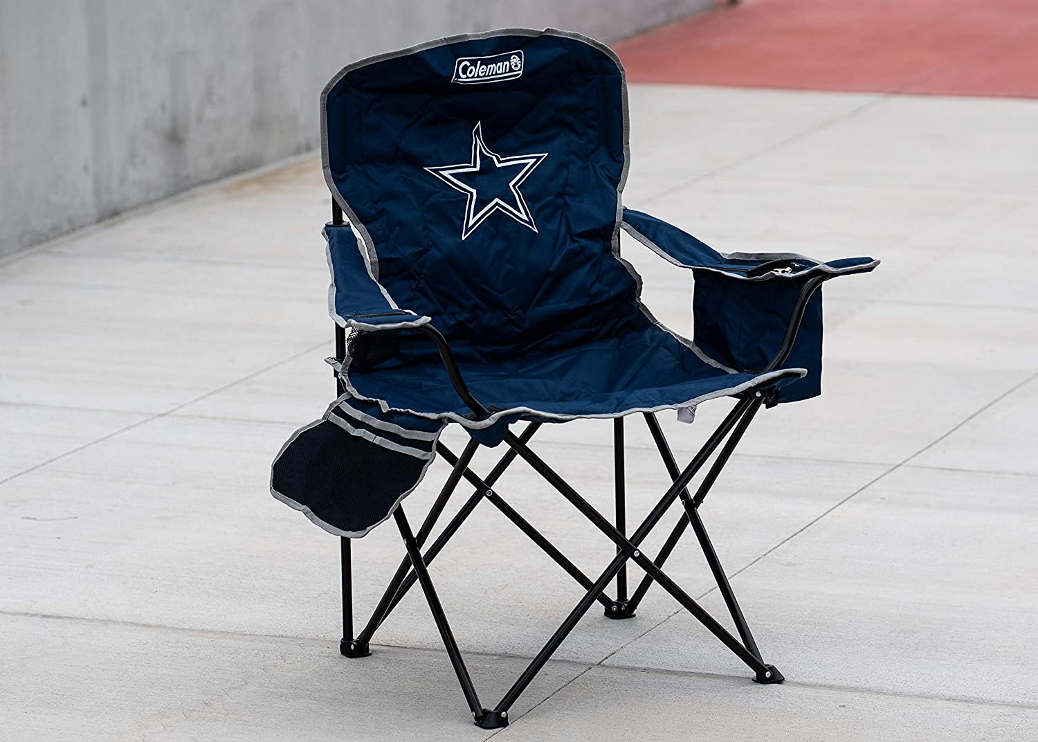 All Team Options Coleman NFL Cooler Quad Folding Tailgating /& Camping Chair with Built in Cooler and Carrying Case