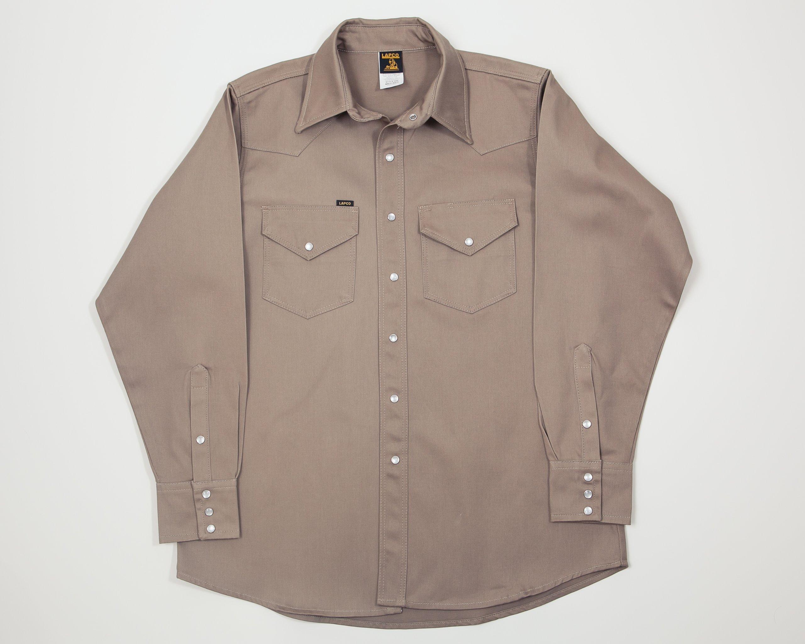 Lapco FR 850-MED-REG Mid-Weight Welder's Shirts, 100% Cotton, 8.5 oz, Medium Regular, Khaki