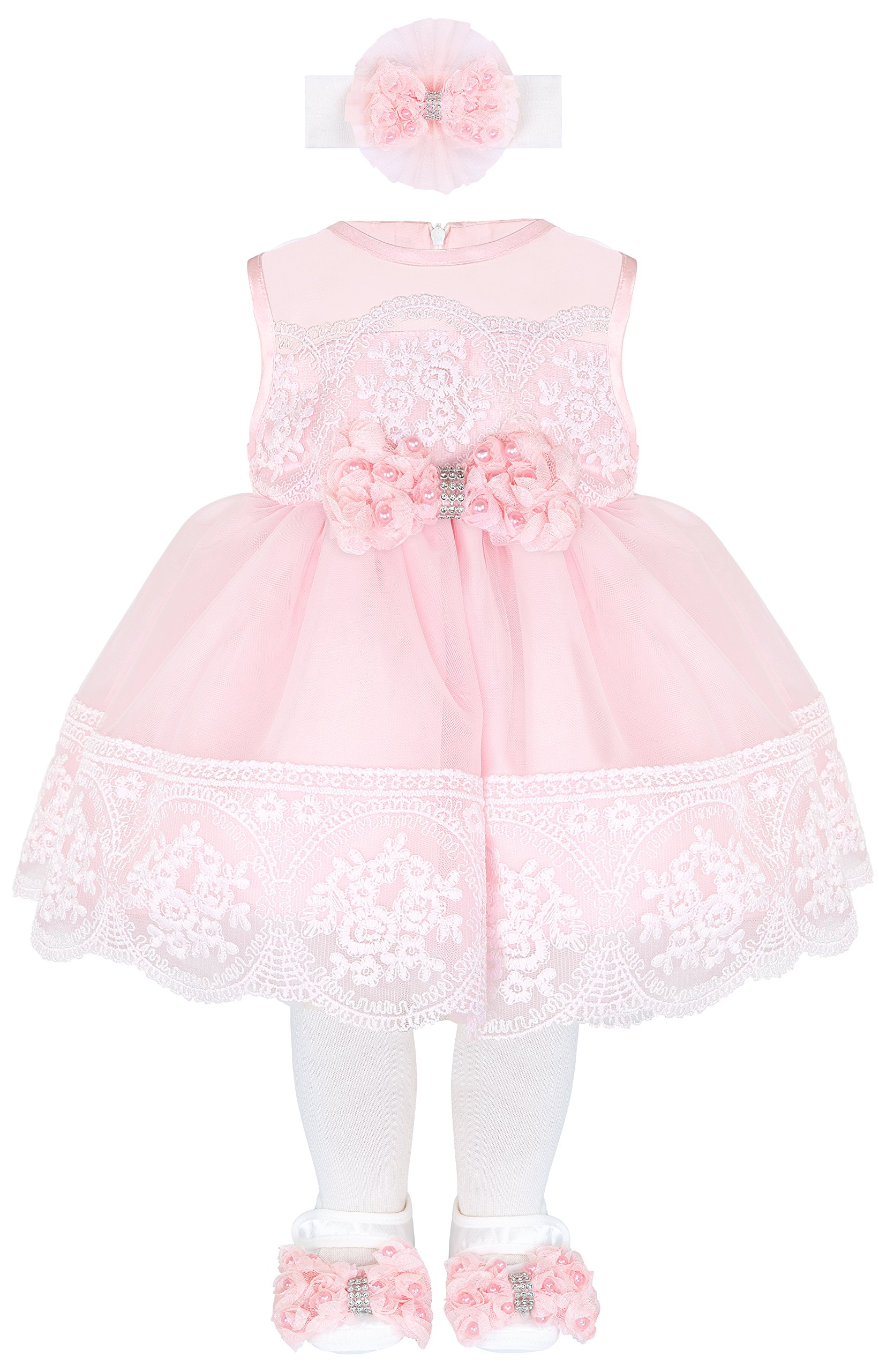 Baby Girl Newborn Pink Embroidered Princess Dress Gown 6 Piece Deluxe Set 0-3 Months