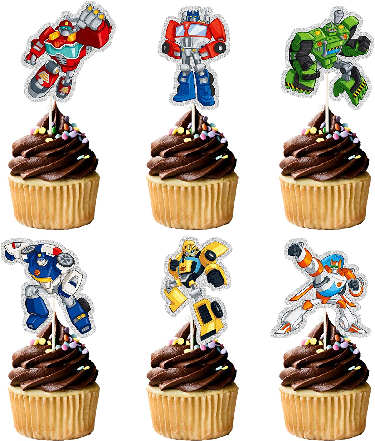 Glitter Transformers Cupcake Topper, Transformers Theme Birthday Party Suppliers, Transformers Cupcake Decoration, Kids Boys Robot Party Favor