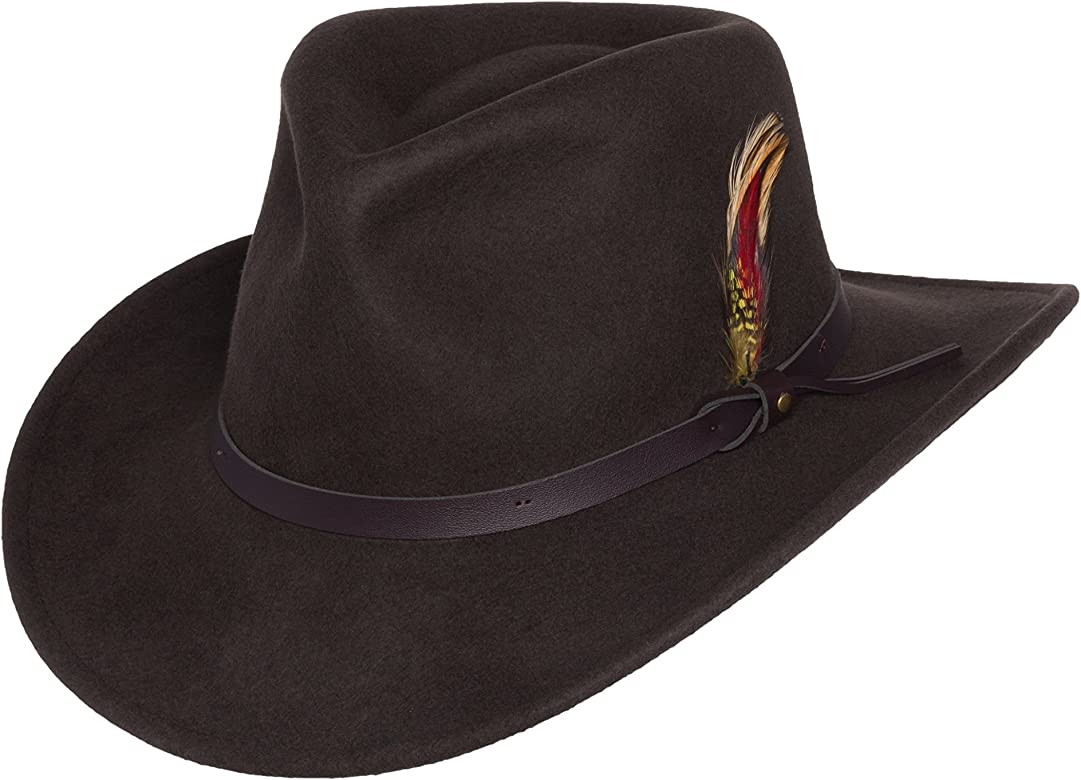 511b38aa8b8dde Men's Outback Wool Cowboy Hat Montana Brown Crushable Western Felt by  Silver Canyon, Brown, Large at Amazon Men's Clothing store:
