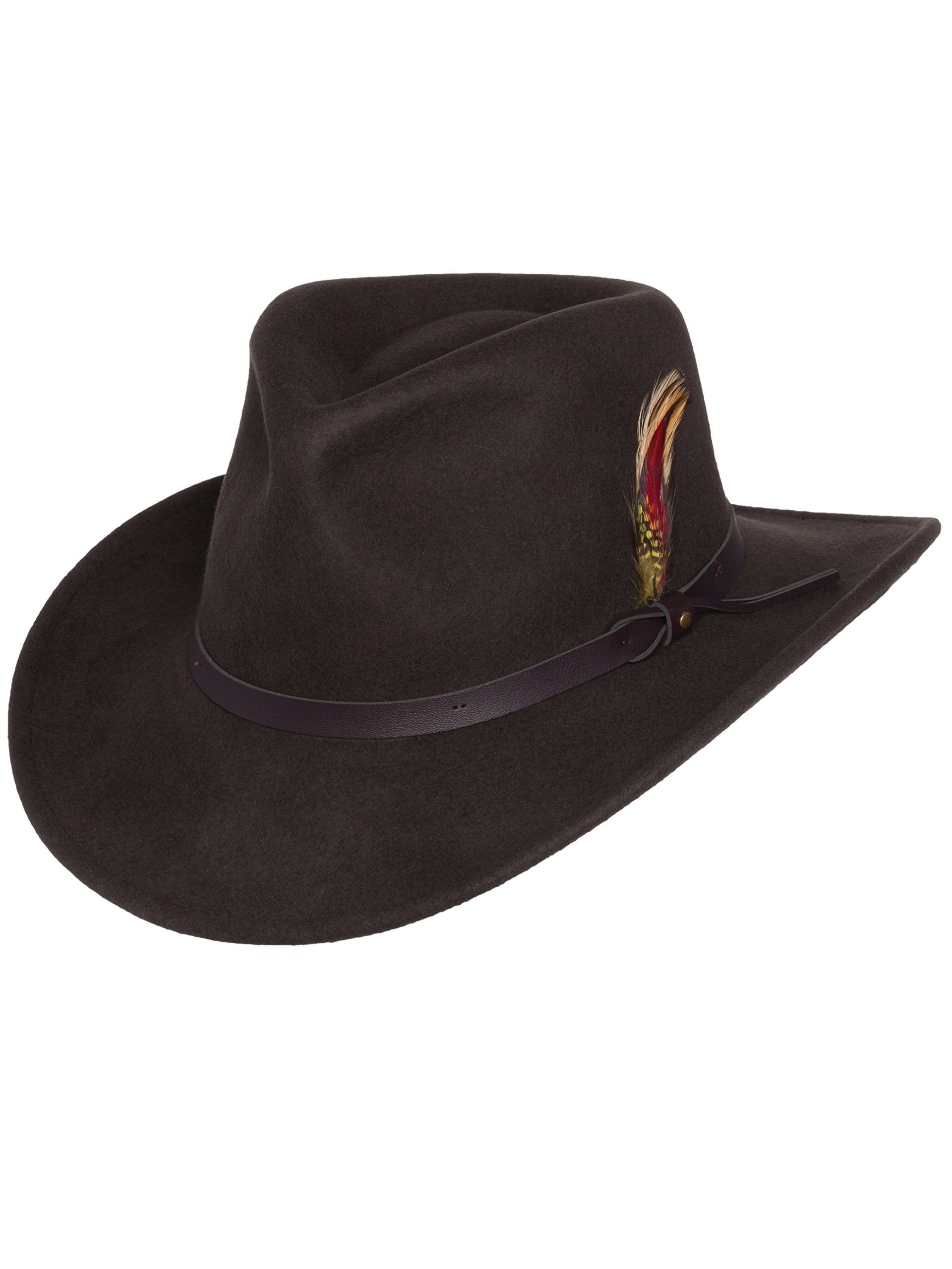 Men's Outback Wool Cowboy Hat Montana Brown Crushable Western Felt by Silver Canyon, Brown, Medium