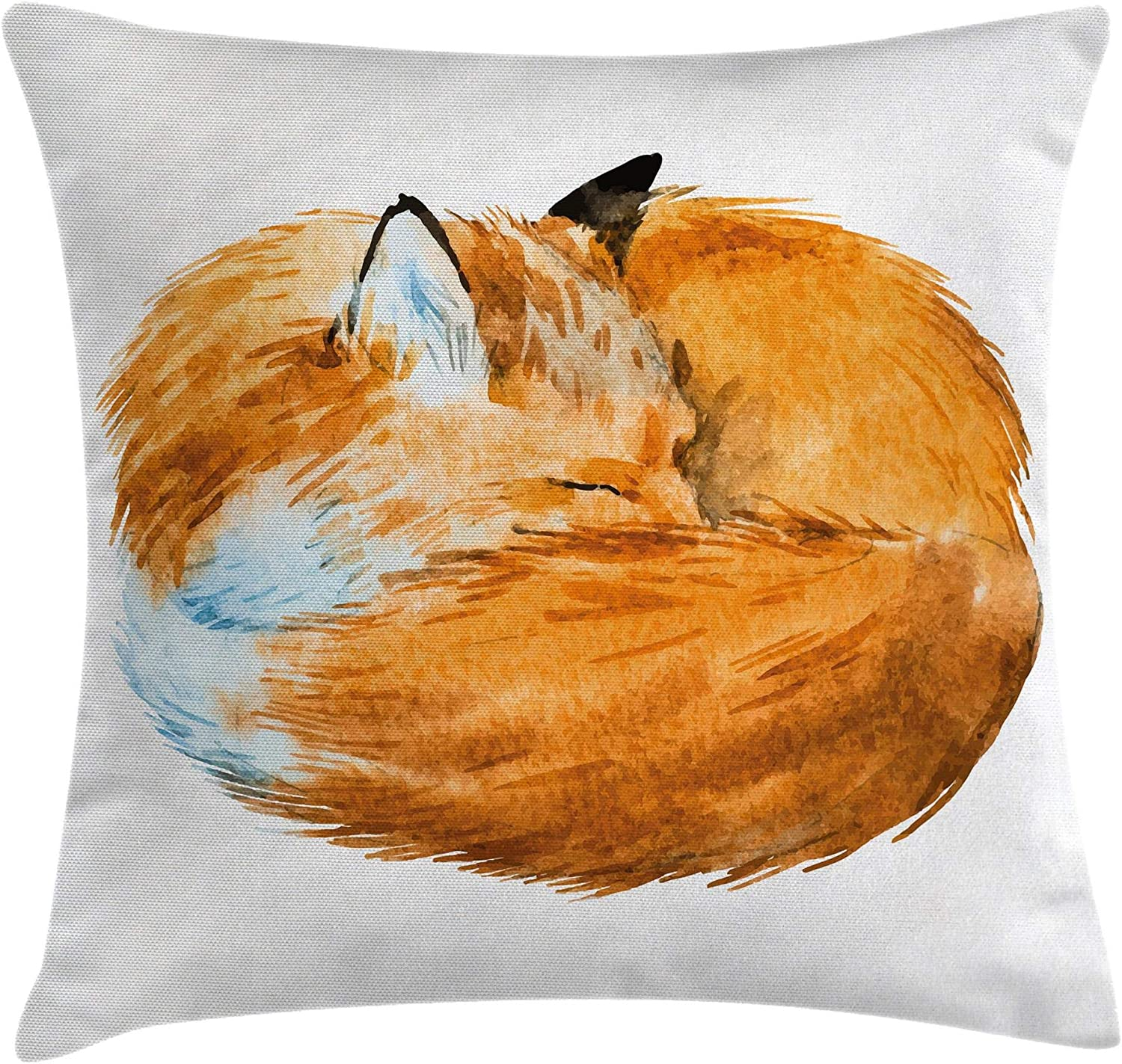 """Ambesonne Animal Throw Pillow Cushion Cover, Fox Sleeping Funny Creature Kids Nursery in Watercolor Artwork Design, Decorative Square Accent Pillow Case, 24"""" X 24"""", Apricot White"""