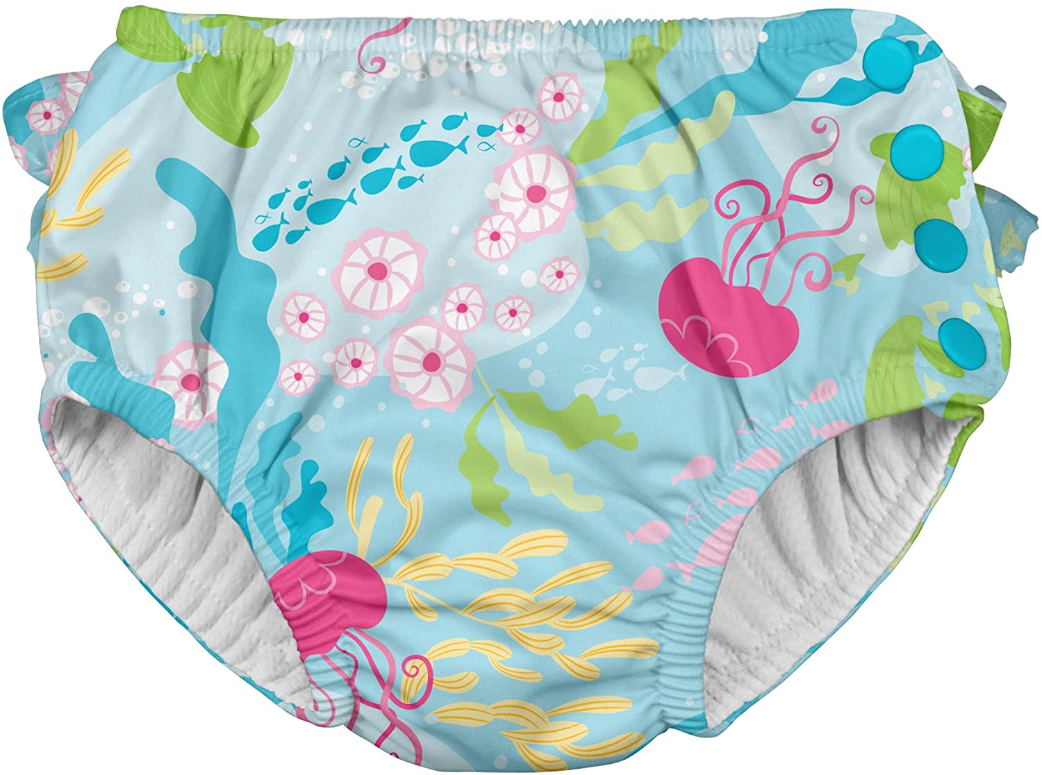 i play. by green sprouts Girls' Ruffle Snap Reusable Absorbent Swimsuit Diaper