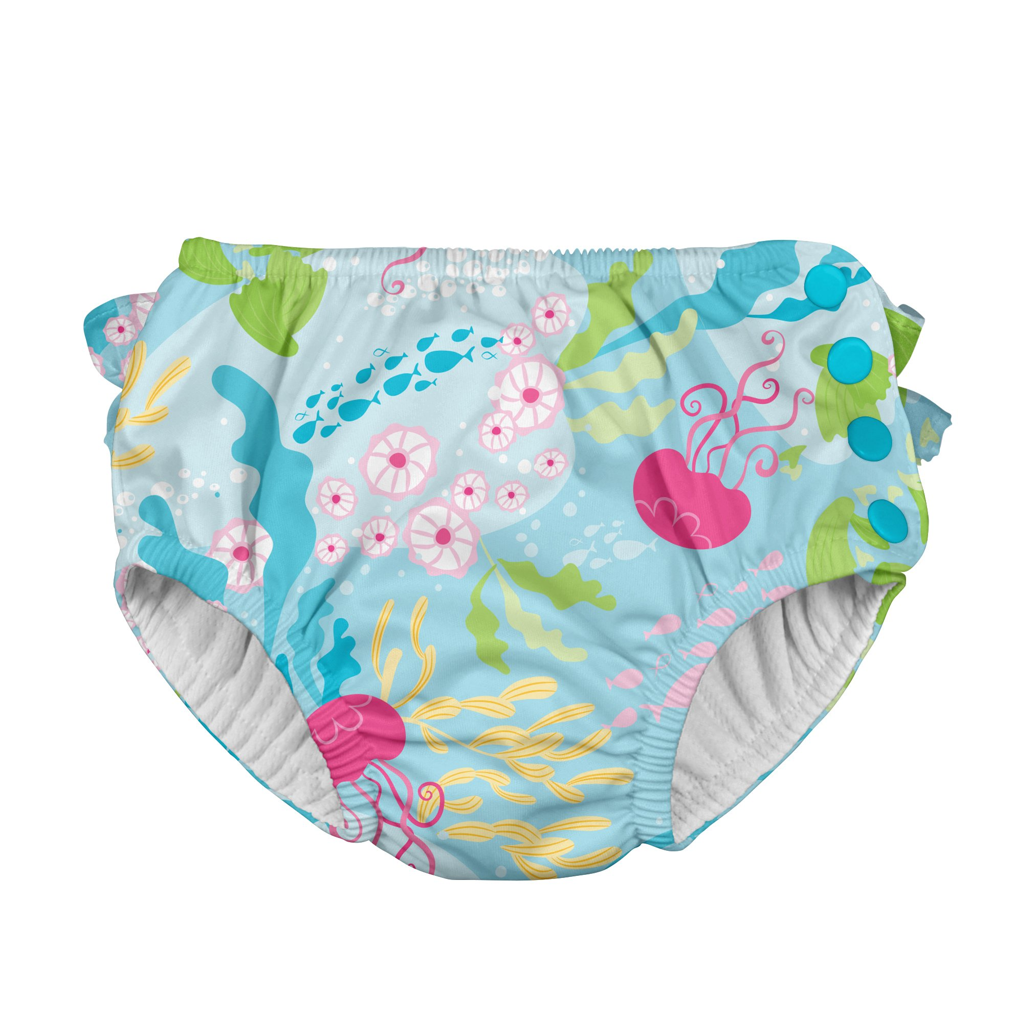 i play. Toddler Girls' Ruffle Snap Reusable Absorbent Swim Diaper, Aqua Coral Reef, 3T