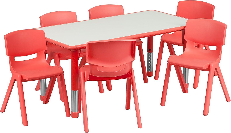 23.625/'/'W X 47.25/'/'L ADJUSTABLE RECT BLUE PLASTIC ACTIVITY TABLE SET W//6 CHAIRS