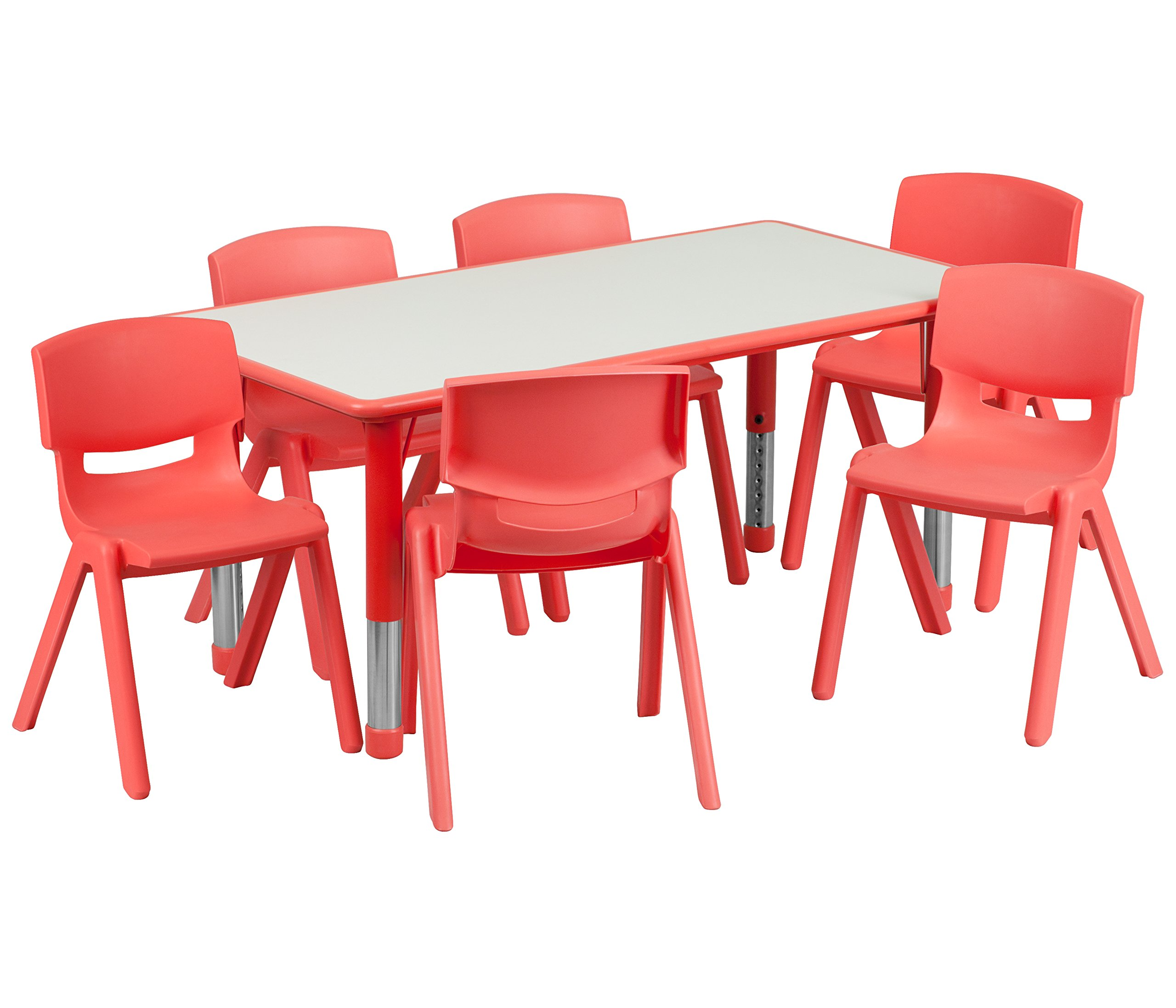 Flash Furniture 23.625''W x 47.25''L Rectangular Red Plastic Height Adjustable Activity Table Set with 6 Chairs by Flash Furniture