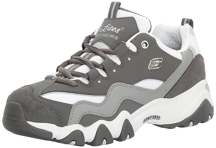 Skechers Sport Women's D'Lites 2.0 Under Control Fashion Sneaker, Gray/White, 8 M US