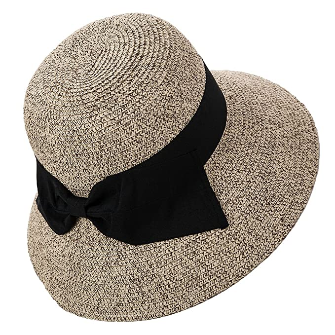 813f7ce504730 Siggi Womens Floppy Summer Sun Beach Straw Fedoras Hats Accessories Wide  Brim Coffee