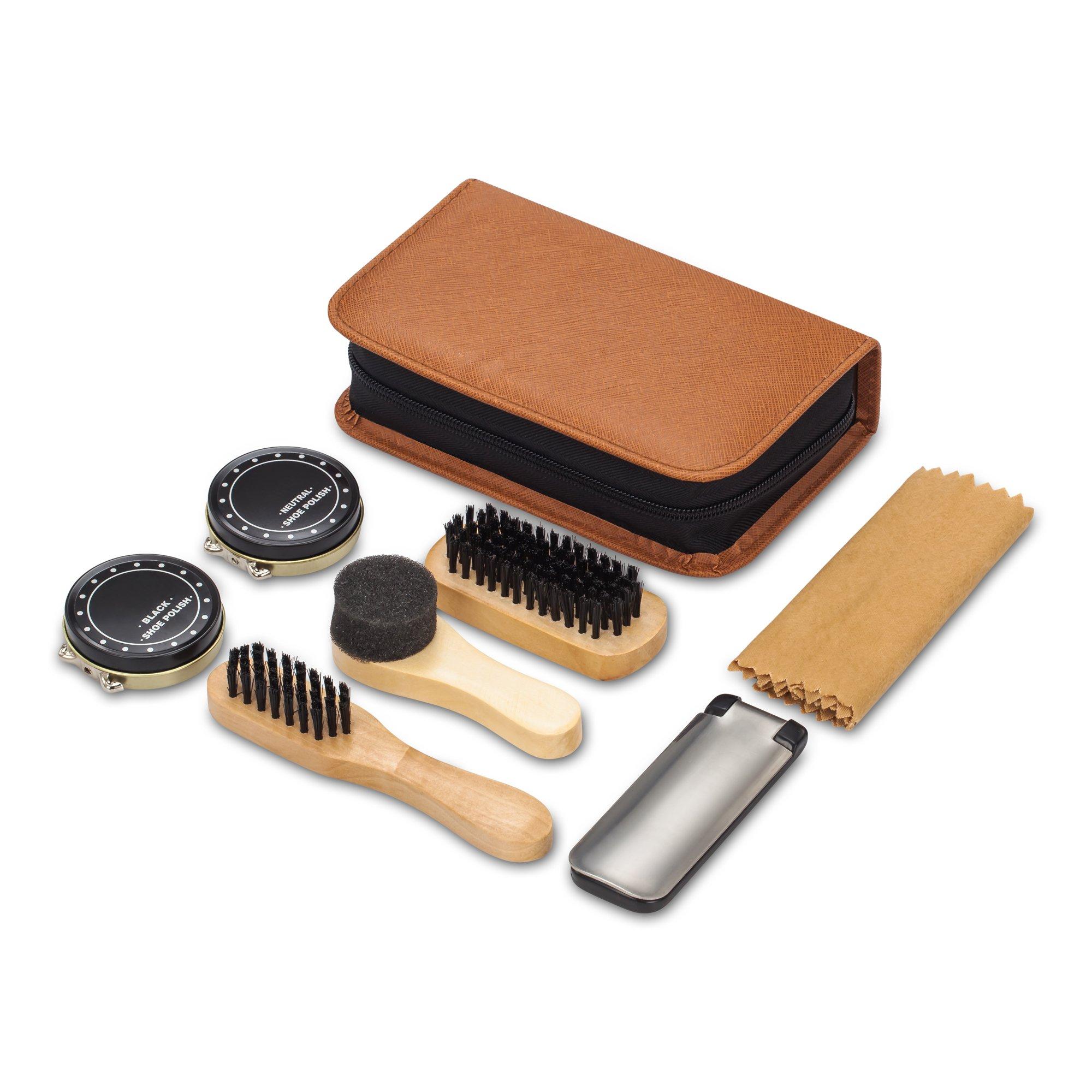 Shoe Shine Kit with PU Leather Sleek Elegant Case, 7-Piece Travel Shoe Shine Brush kit by make it funwan (Image #3)