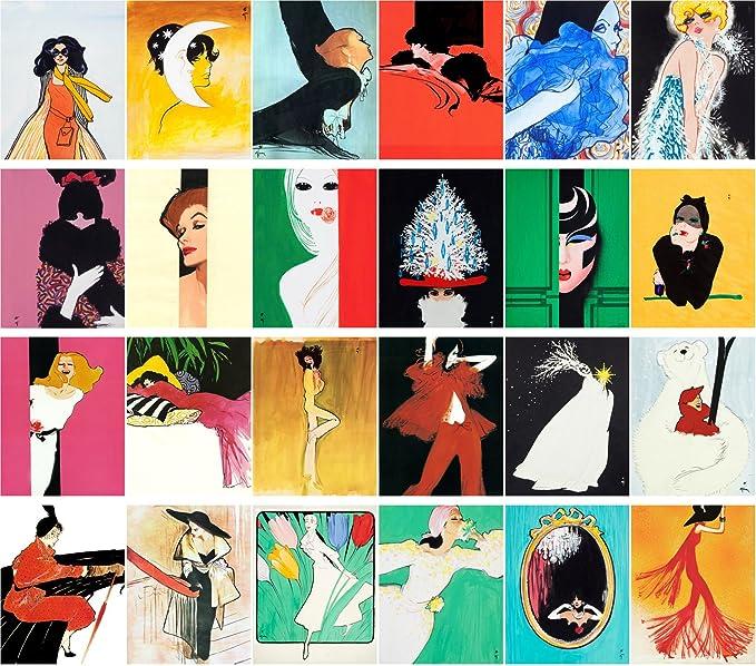 Carte Postale 24pcs Fashion Girls Vintage Magazine Illustration by Rene Gruau