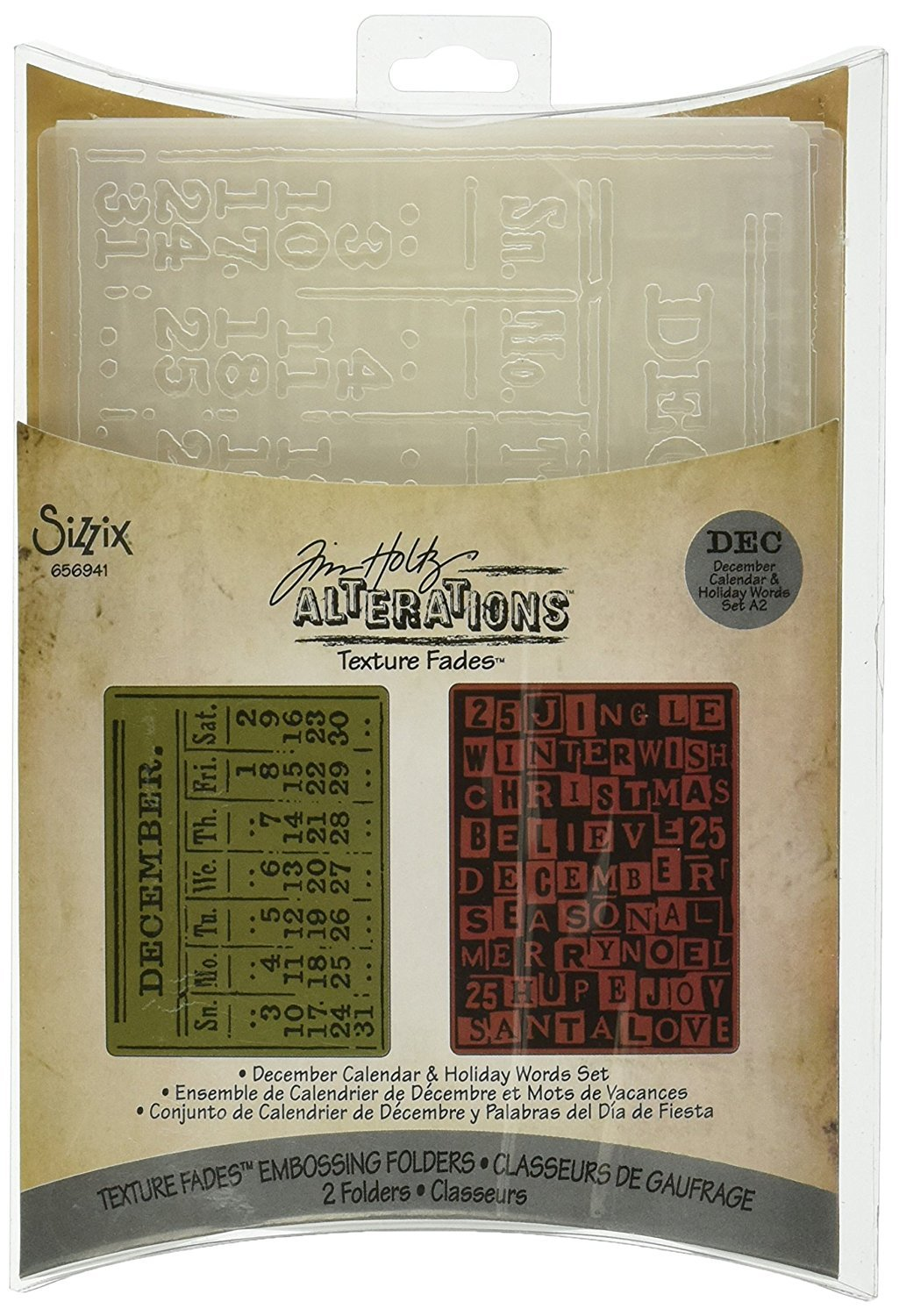 Sizzix Tim Holtz Texture Fades Alterations Collection Embossing Folders December Calendar and Holiday Words (8 Pack)