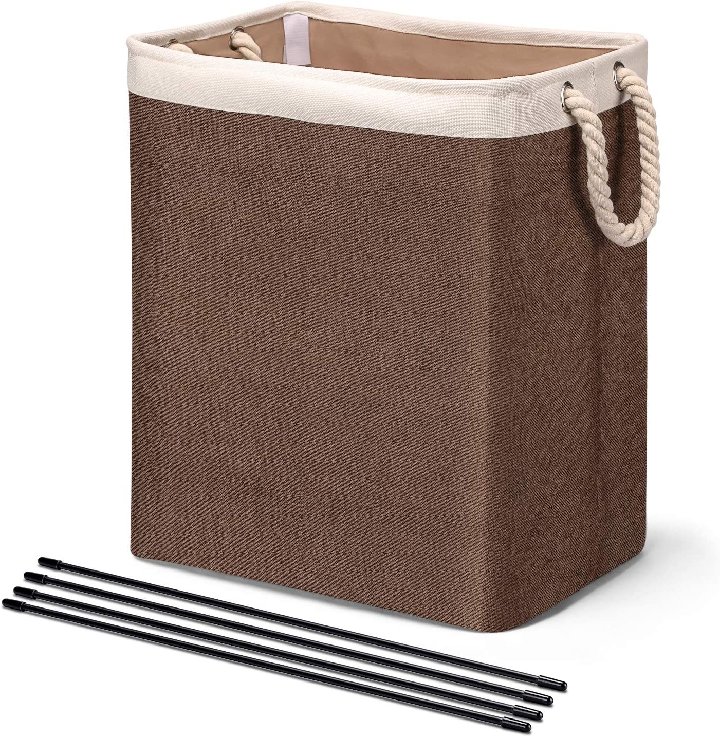 HOUSE DAY Laundry Basket with Handles Linen Laundry Hampers for Laundry Storage Baskets Built-in Lining with Detachable Brackets Well-Holding Foldable Laundry Bags for Clothing Organization (Brown)