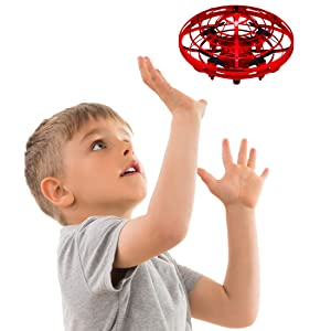 Hand Operated Drones for Kids or Adults - Scoot Hands Free Mini Drone Helicopter, Easy Indoor Small Orb Flying Ball Drone Toys for Boys or Girls (Red)