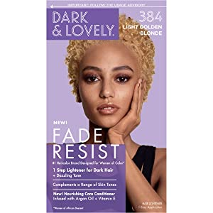 Permanent Hair Color by Dark and Lovely Fade Resist I Up to 100% Gray Coverage Hair Dye I Light Golden Blonde 384 I SoftSheen-Carson I Packaging May Vary