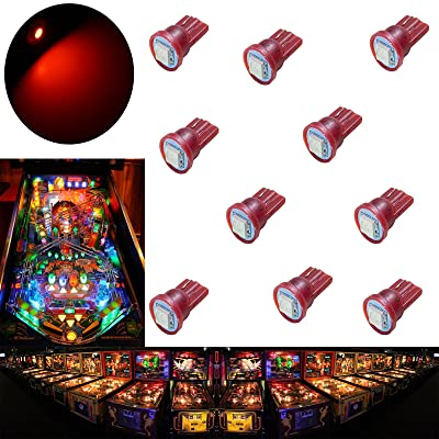 PA 10PCS #555 T10 1SMD LED Wedge Pinball Machine Light Top View Bulb Red-6.3V: Toys & Games