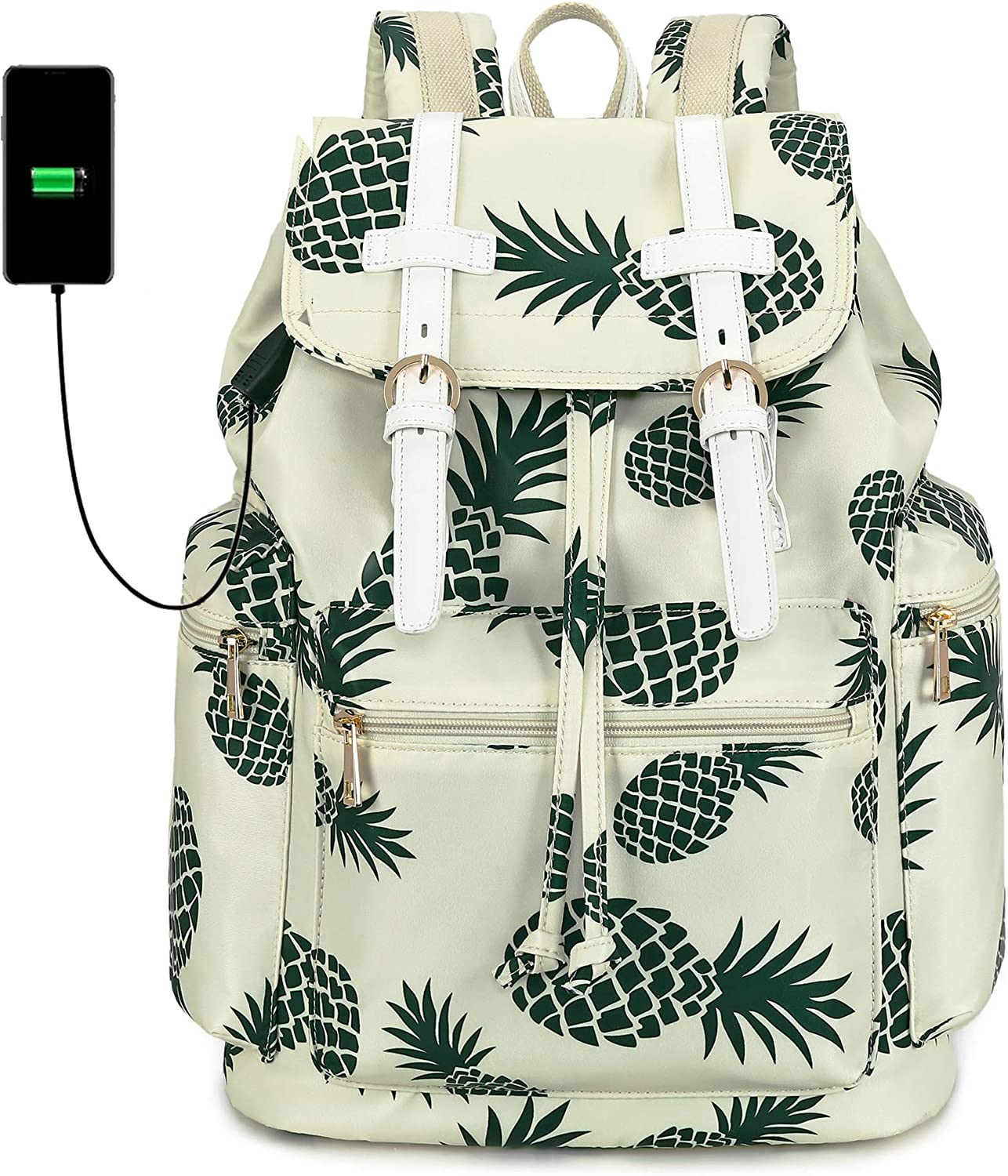 Travel Laptop Backpack for Women and Mens School College Bookbag with USB Charge Port for Notebook with Trolley Sleeve on Suitcase (White with pineapple pattern)