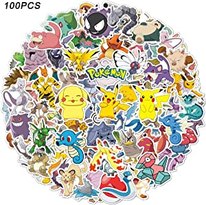 CHANGHUI Pokemon Stickers 100pcs Pikachu Cool Stickers for Hydroflask Water Bottles Waterproof and Perfect