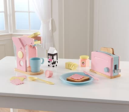 KidKraft Toy Kitchen Accessories Coffee U0026 Toaster Set, Pastel