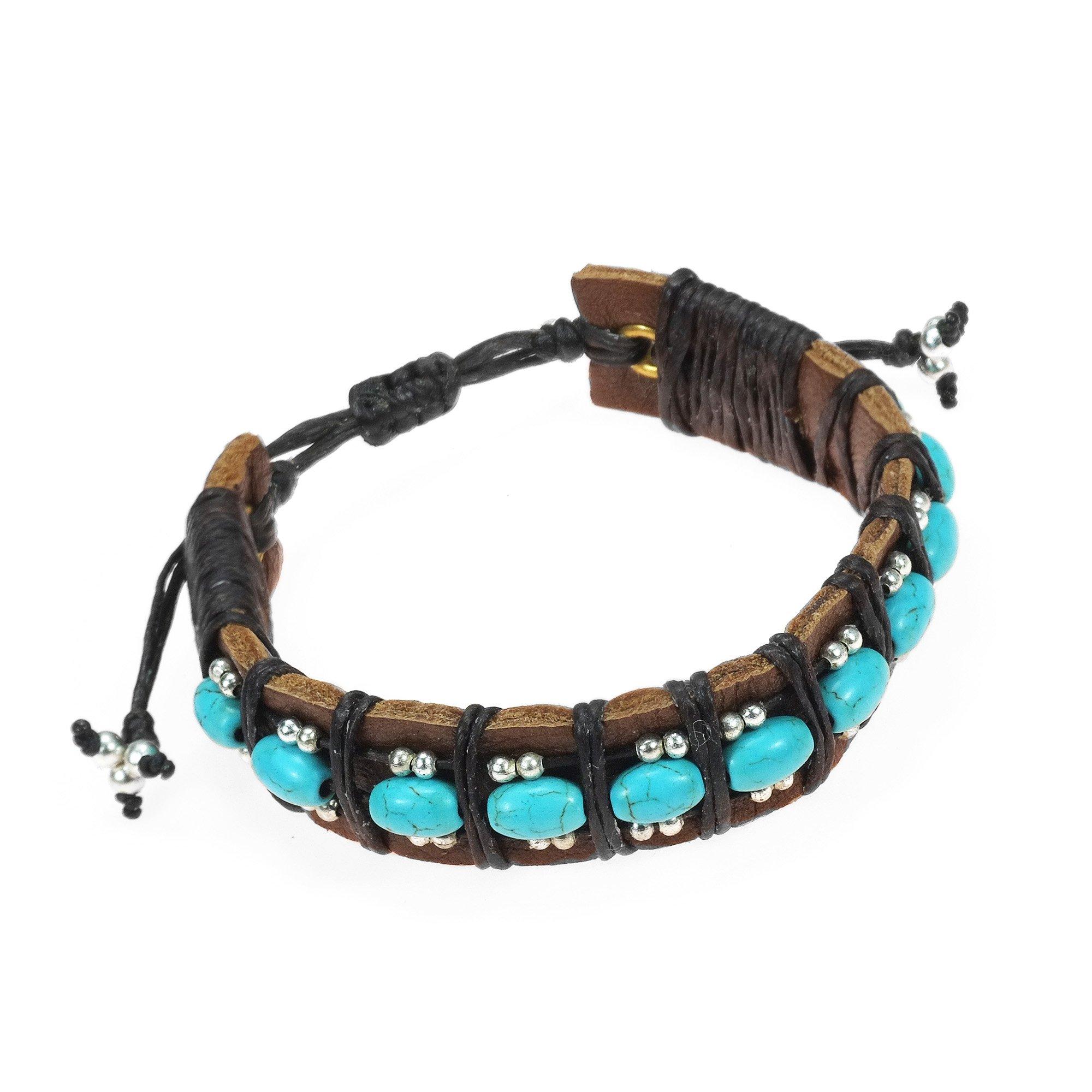 AeraVida Bohemian Simulated Turquoise and Fashion Silver Beads Leather Adjustable Wrist Pull Bracelet