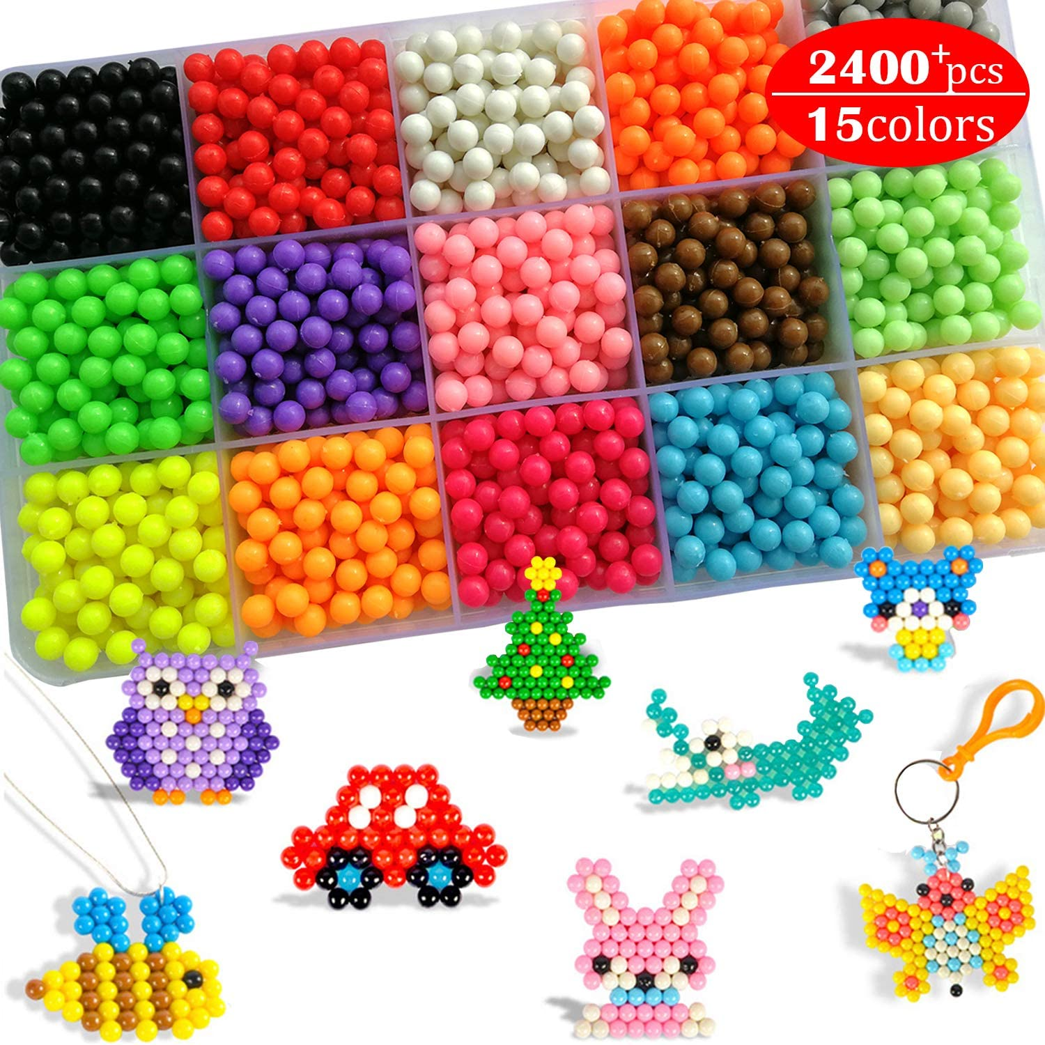 Fuse Water Beads Kit for Kids Non Toxic Art Craft Toys 15 Colors 2400 Beads