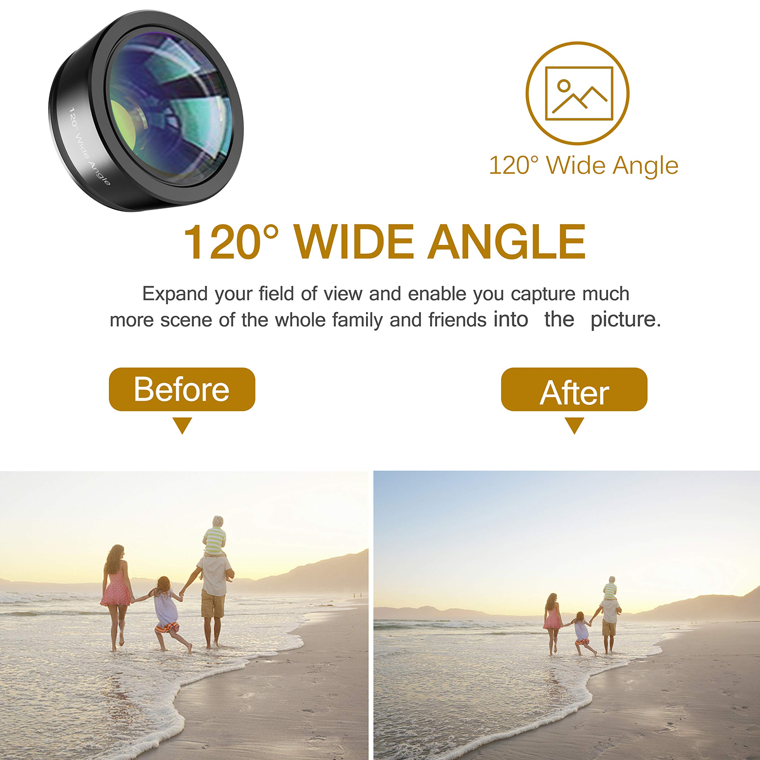 Phone Camera Lens,Upgraded 3 in 1 Phone Lens kit-198° Fisheye Lens + 20X Macro Lens + 120° Wide Angle Lens,Clip on Cell Phone Lens Kits Compatible with iPhone,iPad,Most Android Phones and Smartphones by LEKNES (Image #4)