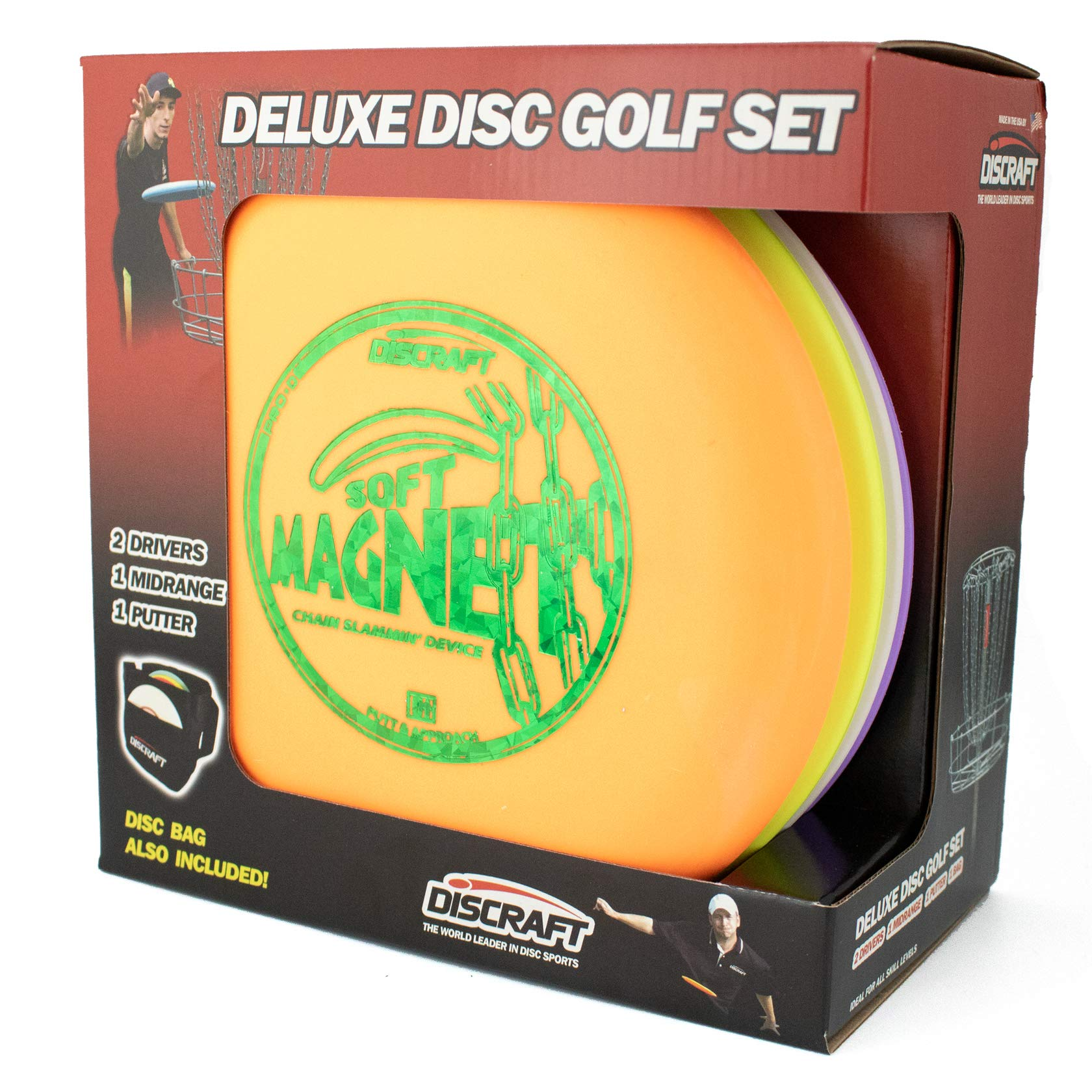 Discraft Deluxe Disc Golf Set (4 Disc and Bag)Models and plastic blends may vary by Discraft