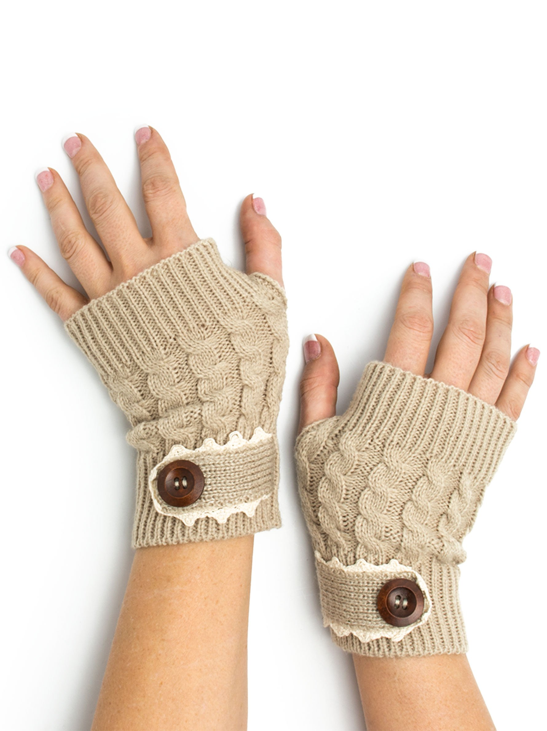 Bohomonde, Tawny Cable Knit Boho Mori Style Armwarmers/Fingerless Gloves with Crochet Lace (Sand)