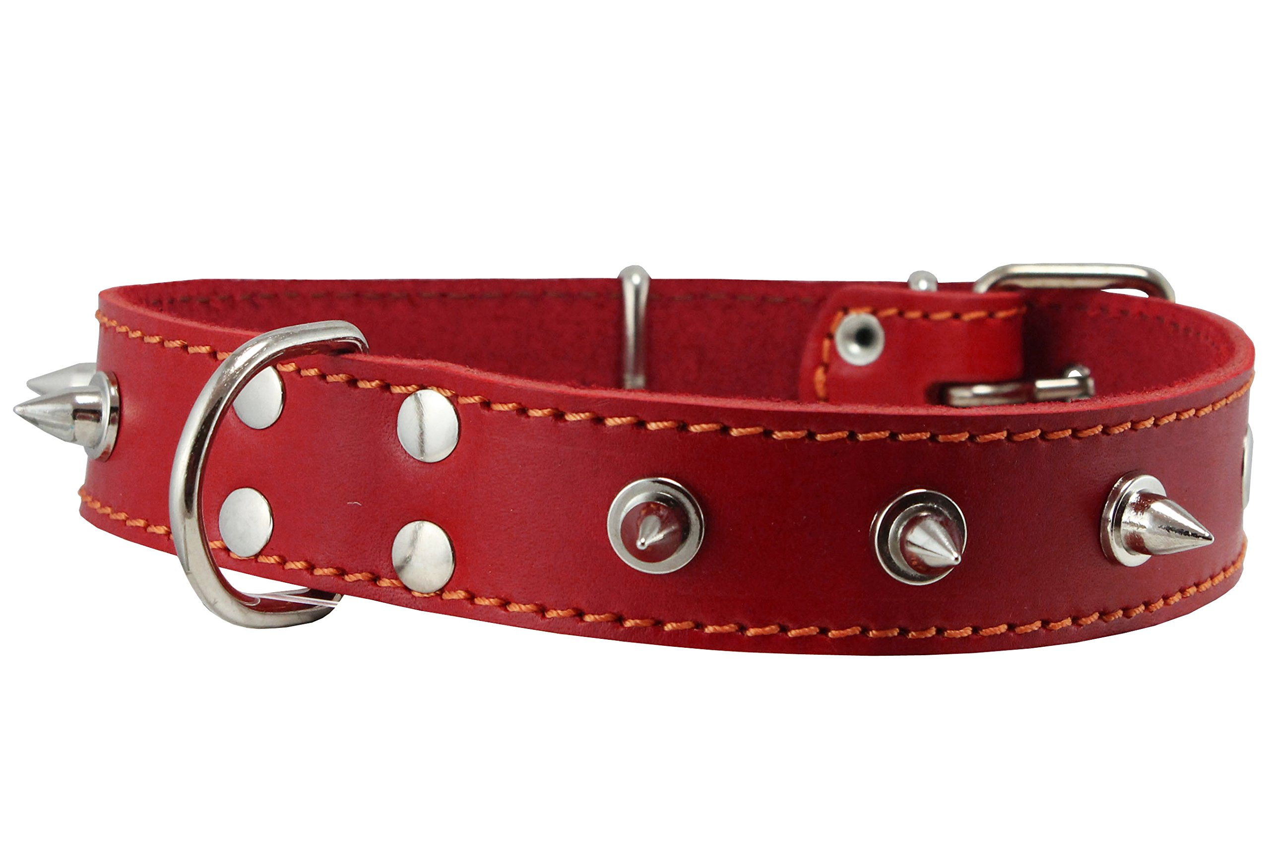 """Dogs My Love Real Leather Red Spiked Dog Collar Spikes, 1.25"""" Wide. Fits 15.5""""-20"""" Neck, Medium Breeds"""