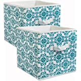 "DII Fabric Storage Bins for Nursery, Offices, & Home Organization, Containers Are Made To Fit Standard Cube Organizers (11x11x11"") Scroll Teal - Set of 2"