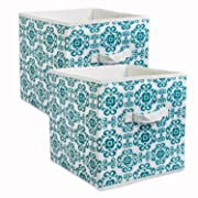 DII Fabric Storage Bins for Nursery, Offices, & Home Organization, Containers Are Made To Fit Standard Cube Organizers (11x11x11 ) Scroll Teal - Set of 2