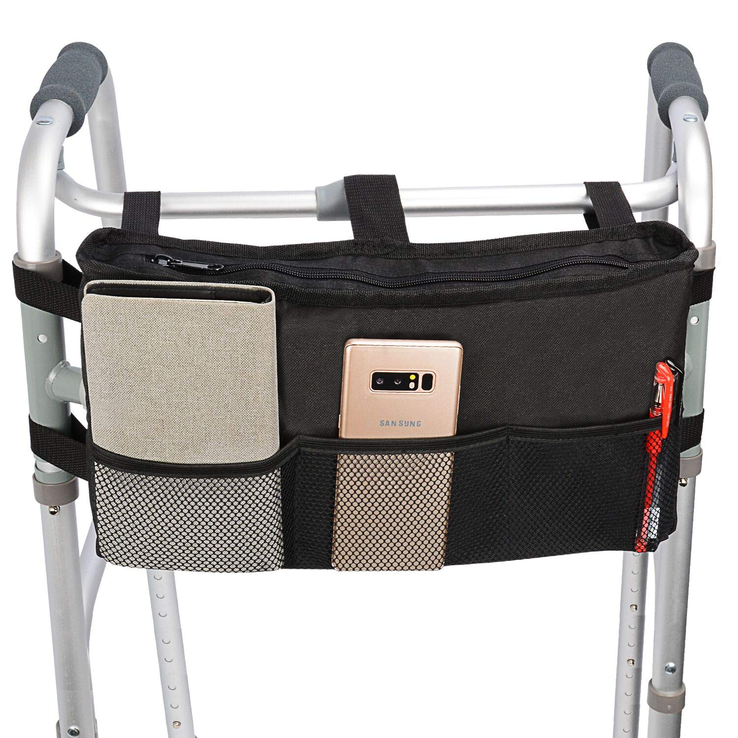 Walker Bag Hand Free Storage Bag Walker Attachment Handicap Basket Pouch for Rollator, Wheelchair, Folding Walkers (Black-Style 2) by Uncle Yang