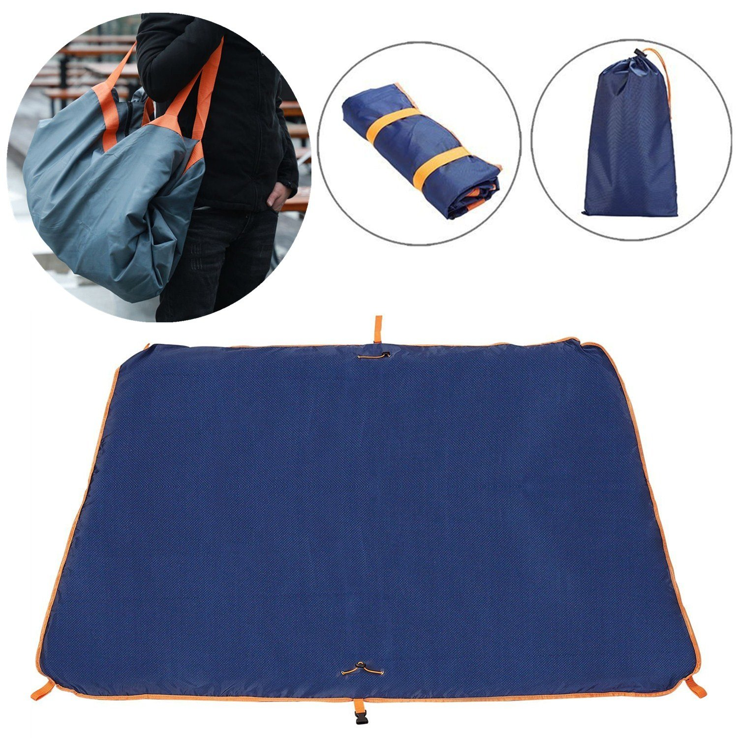 TOP-Max Camping Blanket Beach Picnic Mat Multifunction Camping Hiking Tarp Waterproof Folded Bag Lightweight Compact Outdoor Ground Sheet Tarpaulin with 4 Fixing Hook & 1 Drawstring Pouch