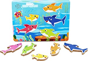Cardinal Games 6054918 Baby Shark Chunky Wood Sound Puzzle, Multi Colour