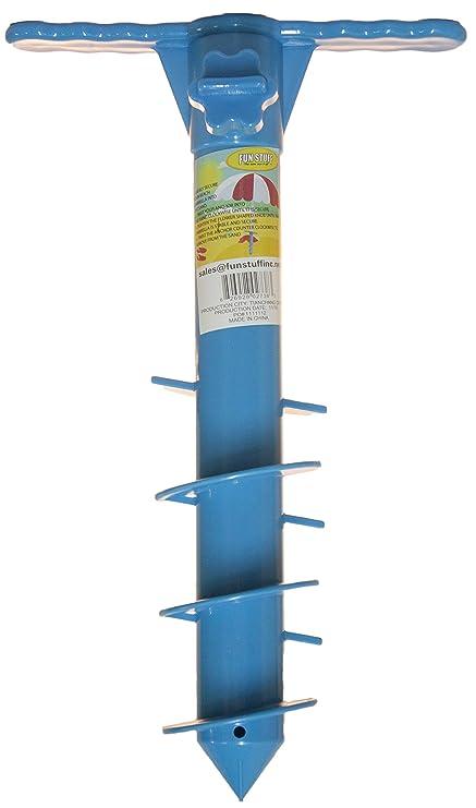 d81c834015 Fun Stuff 16 Inch Plastic Beach Umbrella/Tent/Fishing Pole Anchor Sand Screw