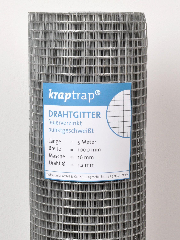 kraptrap® Volierendraht Drahtgitter 4-eck Schweißgitter16x16mm 100cm Breite 5m Länge KrapTrap®