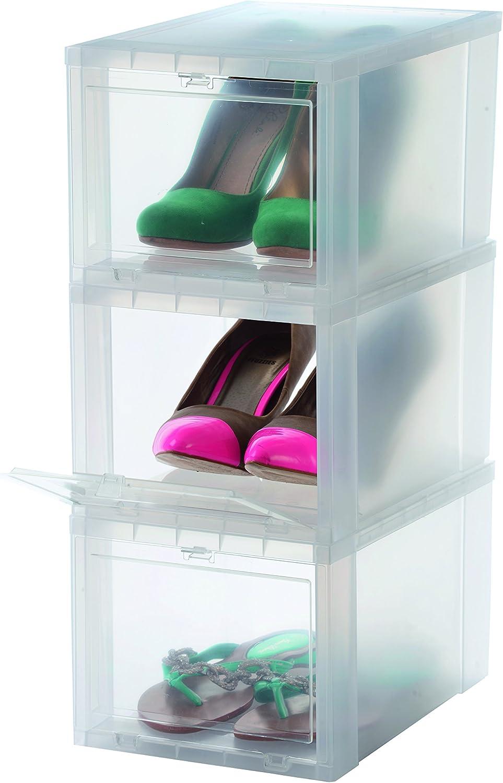 Iris Ohyama EUDF-S Lote de 3 Cajas de Almacenamiento para los Zapatos, Plastico, Pequeño