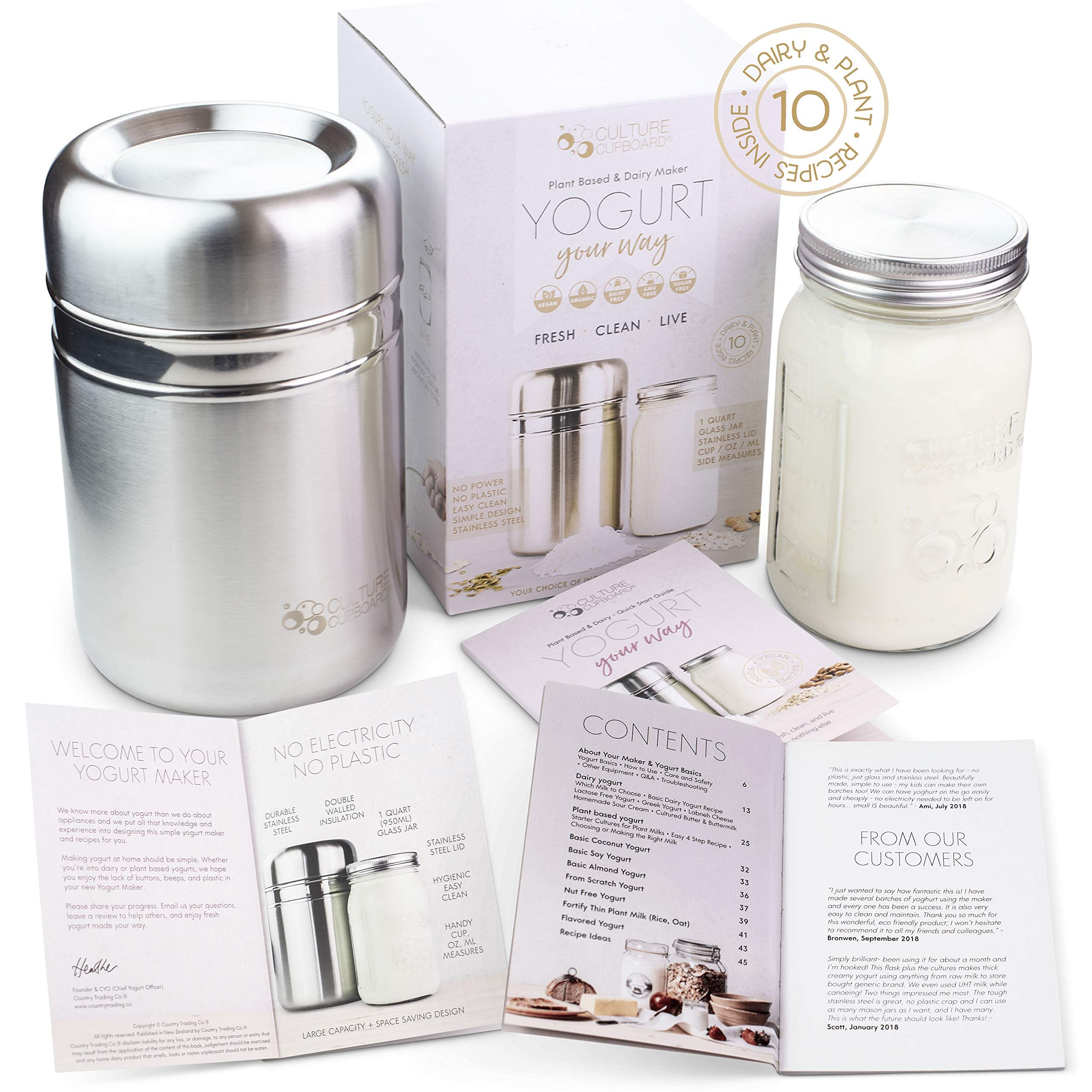 Stainless Steel Yogurt Maker with 1 Quart Glass Jar by Country Trading Co.
