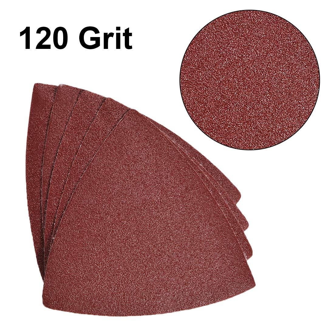 sourcing map Triangle D/étail ponceuse Papier Verre Tampons Papier Abrasif Assorti 120 Grains,3-1//8 Triangle Feuilles Pon/çage 15pcs
