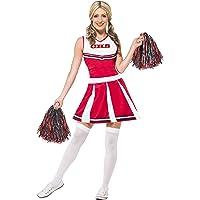 Smiffys Costume pom pom girl, Rouge, avec robe et pompons